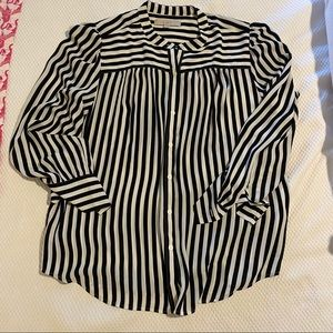 LOFT Striped rayon tunic button down